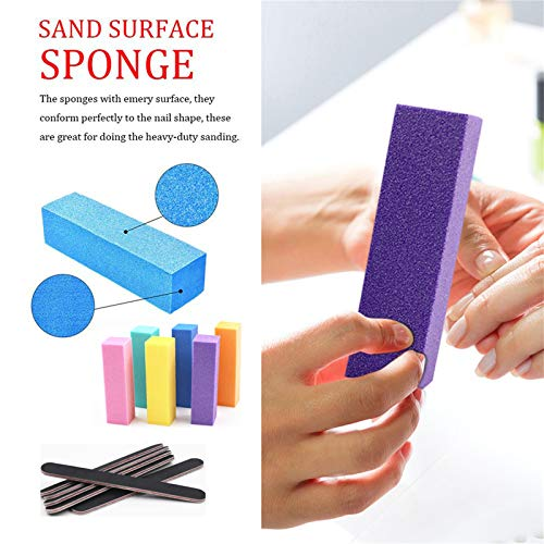 12PCS Nail Files and Buffer, Grit Double Sided Emery Board Nail Files for Acrylic and Nature Nails, Professional Rectangular Art Care Buffer Block Tools(A)