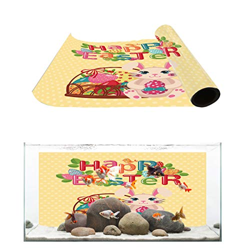Aquarium Background Colorful Letter Happy Easter and Fat Rabbit Fish Tank Wallpaper Easy to Apply and Remove PVC Sticker Pictures Poster Background Decoration 24.4