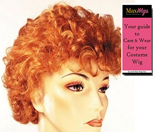 Lucille Ball Wigs (I Love Lucy Carmichael - Lacey Wigs Women's Orangey Red Hollywood Lucille Ball 1960s Bundle with MaxWigs Costume Wig Care Guide)