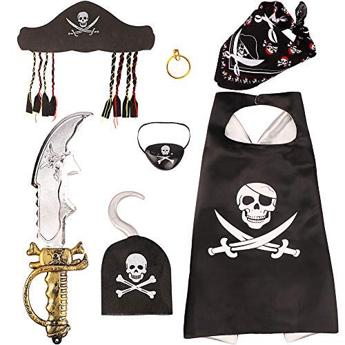 Pirate Party Costume Dress Up Set Including Pirate