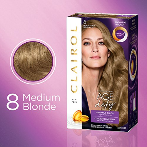 Clairol Age Defy Expert Collection, 8 Medium Blonde, Permanent Hair Color, 1 Kit (PACKAGING MAY VARY)
