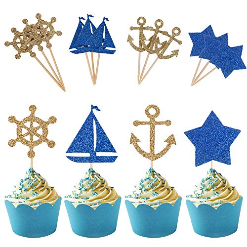 BUSOHA Nautical Theme Glitter Cupcake Topper/Anchor Boat with Blue Start Cake Pick for Wedding Birthday Baby Shower Decoration Party Favors(24 -