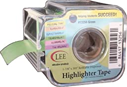 Lee Products Co. 1 7/8-Inch Wide, 393-Inch Long Removable Highlighter Tape with Refillable Dispenser, Green (13256)