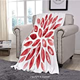 BeeMeng Throw Blanket/Super Soft Fuzzy Light Blanket,Floral,Watercolor Style Flower Buds Petals Nature Beauty
