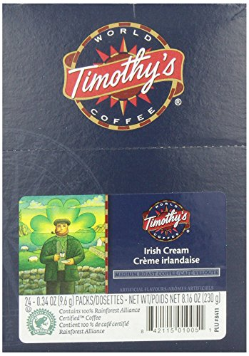 Timothy's Sphere Coffee, Irish Cream,  K-Cup Portion Pack for Keurig K-Cup Brewers, 24-Count (Pack of 2)