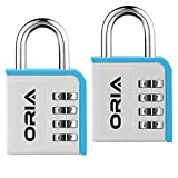ORIA Combination Lock, 2 Pack Combination Lock, 4 Digit Padlock with Water Proof Design for School, Travel Baggage, Gym, Sport Locker, Toolbox and Storage (Silver/Blue)