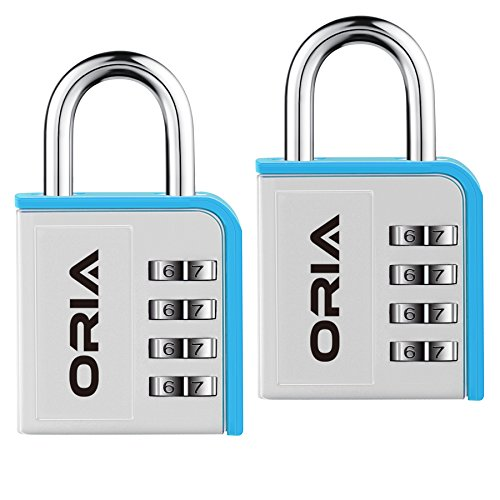 ORIA Combination Lock, 2 Pack Combination Lock, 4 Digit Padlock with Water Proof Design for School, Travel Baggage, Gym, Sport Locker, Toolbox and Storage (Silver/Blue) by ORIA