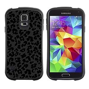 LASTONE PHONE CASE / Suave Silicona Caso Carcasa de Caucho Funda para Samsung Galaxy S5 SM-G900 / leopard pattern animal fur black dark