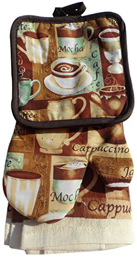 Pot Holder Cafe (Mocha Coffee Cafe Kitchen Set 2 Towels 2 Pot Holders 1 Oven Mitt, 5 Piece Bundle )