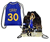 Steph Curry Jersey Style Picture Basketball Drawstring Backpack ✓ Premium Unique Drawstring Bag ✓ Perfect Gift for Golden State #30 Curry Basketball Fans (Backpack, Curry)