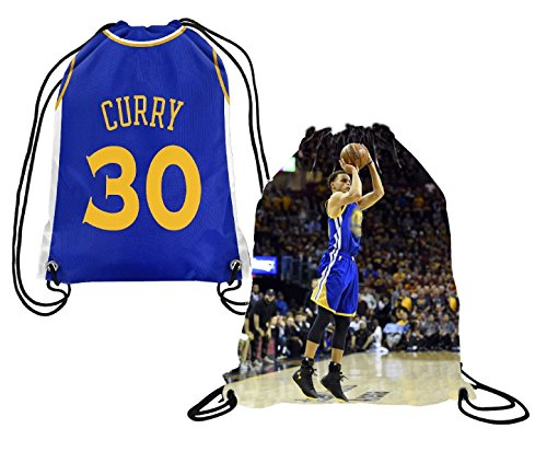 Steph Curry Jersey Style Picture Basketball Drawstring Backpack ✓ Premium Unique Drawstring Bag ✓ Perfect Gift for Golden State #30 Curry Basketball Fans (Backpack, (State Drawstring)