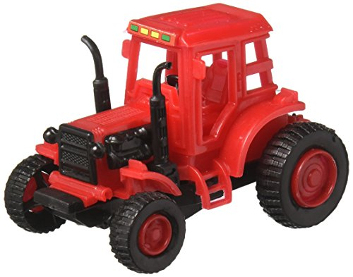 Fun-Filled Assorted Colors Pull-Back Farm Tractor Party Favour, Plastic, 3