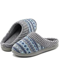 Women's Sweater Knit Memory Foam House Slippers w/Cute Embroidered Pattern and Ribbed Hand-Knit Collar