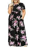 Nemidor Women Short Sleeve Loose Plain Casual Plus Size Long Maxi Dress with Pockets (143+BlackPrint, 22W)