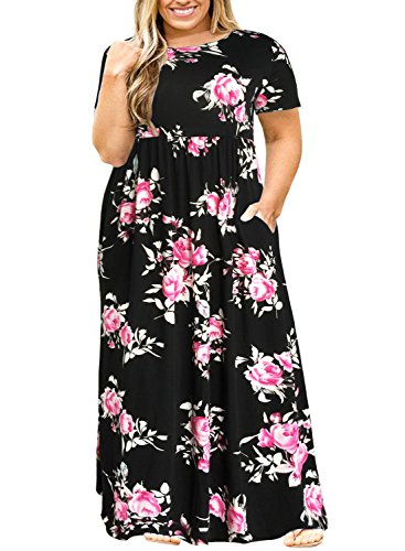 Nemidor Women Short Sleeve Loose Plain Casual Plus Size Long Maxi Dress with Pockets (143+BlackPrint, 14W) (Dress Women Size 14)