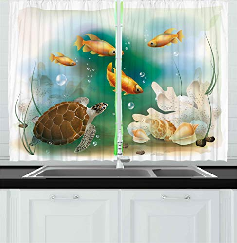 Ambesonne Turtle Kitchen Curtains, Artistic Ocean Life Illustration Aquarium Tropical Animals Goldfishes and Seashells, Window Drapes 2 Panels Set for Kitchen Cafe, 55 W X 39 L Inches, Multicolor -