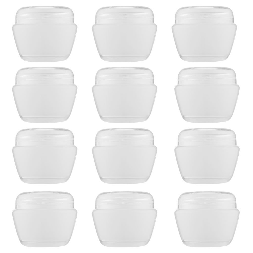 LONGWAY 1 Oz (30ML) Mini Plastic Jars with Lids and Inner Liners | Empty Lotion Containers/Travel Cream Containers - for Sugar Scrub, Cosmetic Jars & BPA Free (Pack of 12, Transparent)