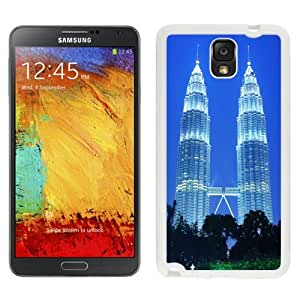 Beautiful Unique Designed Samsung Galaxy Note 3 N900A N900V N900P N900T Phone Case With Petronas Towers Kuala Lumpur Malaysia_White Phone Case