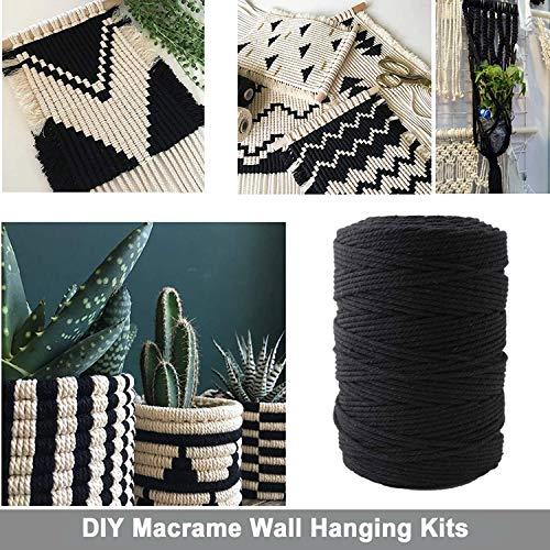 MacrameKit for Adults Beginners, 3mm x 109 Yards Black Macrame Rope with 70 pcs Wood Beads,6pcs Wood Ring,4pcs Wooden Stick and 2 pcs Black S Hooks Macrame Supplies for DIY Plant Hangers