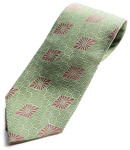 Hand Made Japanese Kimono Pattern Luxury Brocade Neck Tie Silk NISHIJIN (Green kikkou) by Four Seasons