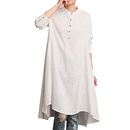 47bcf1828e278 Kaftan Dress for Women Cotton Linen Long Sleeve Henley Shirt Baggy Blouse  Top(White