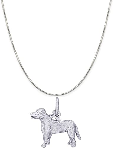 Box or Curb Chain Necklace 18 or 20 inch Rope Rembrandt Charms Sterling Silver Dog Charm on a 16
