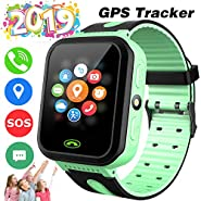 Kids Smart Watch Phone GPS Tracker for Girls Boys Touch Screen Fitness Tracker with Camera Anti-Lost SOS Game Electronic Learning Toy for Christmas Birthday Gifts