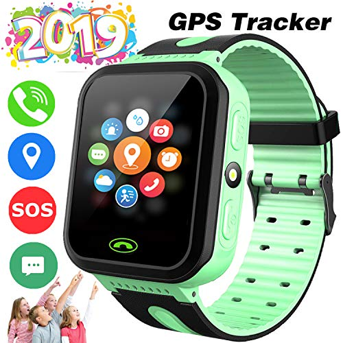 Kids Smart Watch -[SIM Card Include] Smart Phone Watch for 3-12 Year Old Boys Girls with GPS Locator 1.5'' HD Touch Screen Fitness Tracker SOS Camera Game Flashlight Alarm Clock -