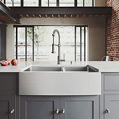 VIGO 33 inch Farmhouse Apron 60/40 Double Bowl 16 Gauge Stainless Steel Kitchen Sink with Edison Stainless Steel Faucet, Two Grids, Two Strainers and Soap Dispenser