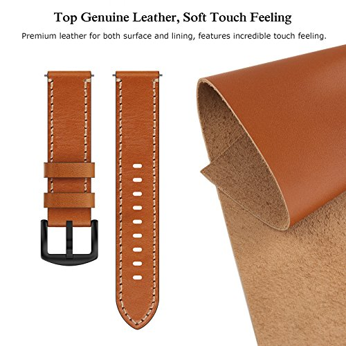 Swees Leather Bands Compatible Gear S3 Frontier/Classic, 22mm Genuine Leather Band Buckle Strap Replacement Wristband Compatible Samsung Gear S3 Frontier/Classic Smart Watch, Brown by SWEES (Image #3)