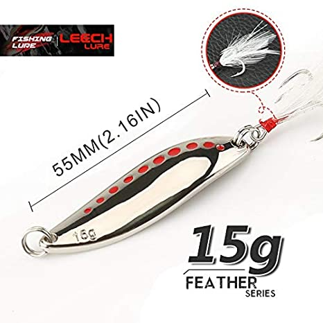 Fishing Hook Metal Lure Noise Paillette Treble with Hard Spoon Feather Baits