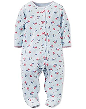 Blue Floral Cotton Snap Up Sleep & Play 6 Months