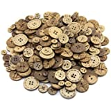 shopdueck HK20 - Set di bottoni per attività creative, 100 di cocco, a 2/4 fori, diametri vari: 10 mm/15 mm/17 mm/22 mm/25 mm