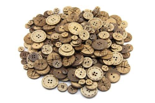 Knöpfe für Kinder Kinderknöpfe Holzknöpfe Knopf Scrapbooking Mischung aus 100 Kokosknöpfe 2+4-Loch Durchm: 10 mm + 15 mm + 17 mm + 22 mm + 25 mm HK20