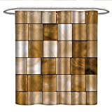 Anshesix Beige Decor Collectionfabric Shower curtainFaded Tiles Wood Cubes Squares Geometric Inspired Modern Simple Urban Boho Chic Art DecorativePleated Shower curtainBrown