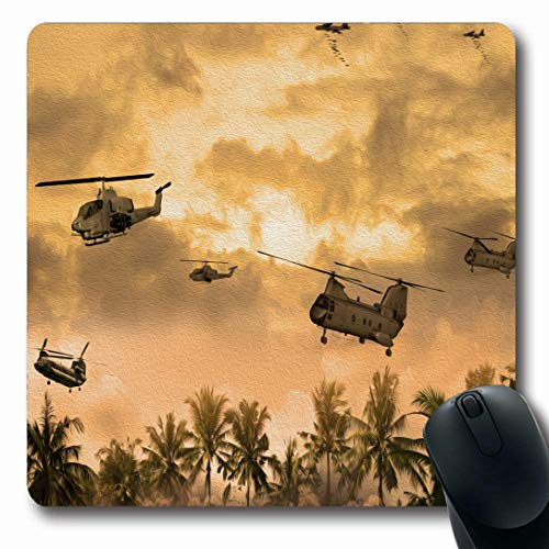 Ahawoso Mousepads for Computers Helicopter Green Vietnam Helicopters Over Technology War Weapon Vintage Orange Military Gun Ground Oblong Shape 7.9 x 9.5 Inches Non-Slip Oblong Gaming Mouse Pad