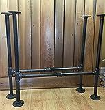 Set of 2 Rustic Industrial Pipe Table H Legs DIY Kit