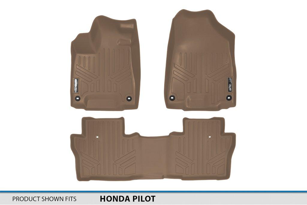 SMARTLINER Floor Mats 2 Row Liner Set Tan for 2016-2018 Honda Pilot