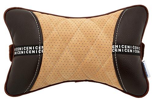 SOJOY LEATHER Car Neck Pillows (Soft Version) Lovely Breathable Car Head Neck Rest Cushion Headrest Pillows (brown & tan)
