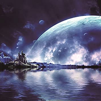 OFILA Universe Outer Space Backdrop 5x5ft Earth Planet Moon Natural Scenery Travel Theme Astronaut Wallpaper