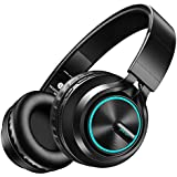 Picun Bluetooth Headphones 18 Hrs Playtime with Cool & Romantic LED Breathing Light, Over Ear Hifi Stereo Folding Wireless Headphones with HD Mic, TF Slot & Wired Mode for PC Cellphone-Upgraded -Black