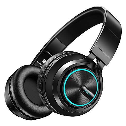Picun Wireless Headphones [Up to 20 Hrs] Over Ear with Cool & Romantic LED Light, HiFi Stereo Folding Bluetooth 5.0 Headphones with HD Mic, Snug Earmuffs, TF Slot & Wired Mode for PC Cellphone (Black)