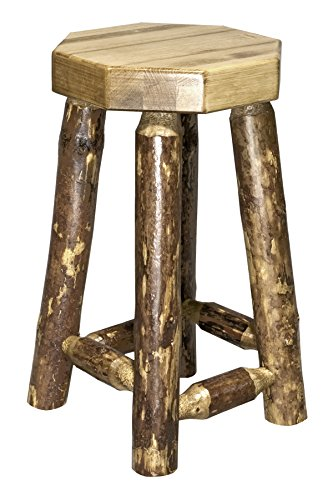 Montana Woodworks MWGCBN24 Glacier Country Collection Counter Height Backless Barstool (Bar Backless Pine Stools)