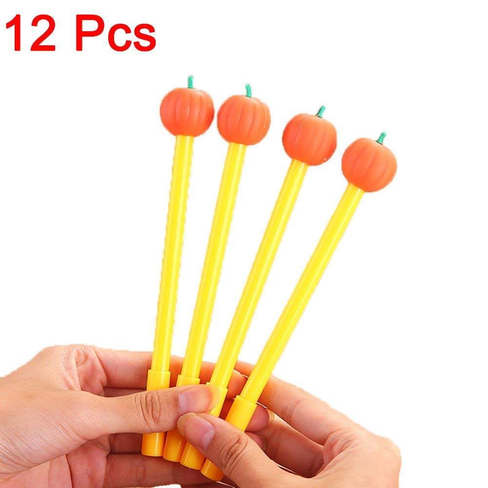Gydthdeix 12 Pcs NEWEST 0.5mm Orange Pumpkin Cute Kawaii Adorable Plastic Silicone Black Ballpoint Writing Gel Ink Pens for Halloween Office School Children Kid Gift Stationery Supplies Set