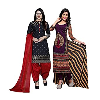 Rajnandini Women's Black And Purple Cotton Printed Unstitched Salwar Suit Material (Combo of 2)