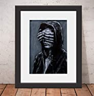 Quadro Decorativo Poster Nils Banksy Style Vidro & Paspatur 46x
