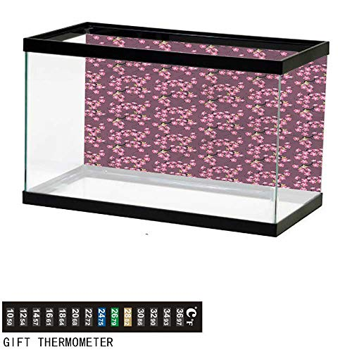 bybyhome Fish Tank Backdrop Cherry Blossom,April in Asia,Aquarium Background,48