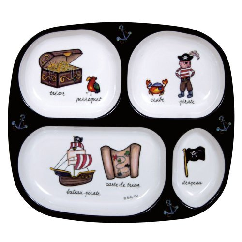 (Baby Cie TV Tray 4 part divided tray 8 with French Wording and Theme, Pirates)