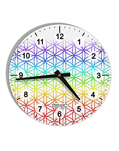 TooLoud Chakra Flower of Life on White 8'' Round Wall Clock with Numbers All Over Print by TooLoud