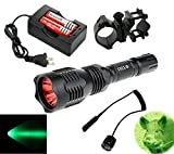 BestFire Portable HS-802 350 Lumens Cree led Tactical Flashlight 250 Yard Long Range Hunting Light Cree LED Light Coyote Hog Hunting Light Torch with Remote Pressure Switch Barrel Mount 18650 Rechargeable battery and Charger Perfect for Hunting Fishing (Red Light)